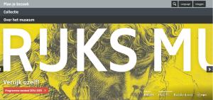 Screenshot Rijksmuseum website