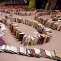 Boekendomino recordpoging Arnhem (foto: standaard)